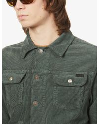 Tom Ford Green Notch-lapel Collared Corduroy Jacket for men