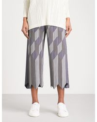 Pleats Please Issey Miyake - Gray Geometric Patchwork Wide Cropped Pleated Trousers - Lyst