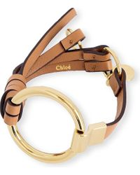 Chloé | Brown Leather And Brass Circle Bracelet | Lyst