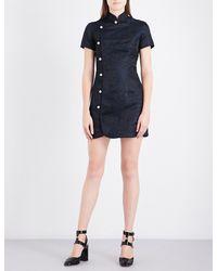 AlexaChung | Blue Mandarin Collar Brocade Mini Dress | Lyst