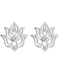 Thomas Sabo | Black Lotus Sterling Silver And White Diamond Stud Earrings | Lyst