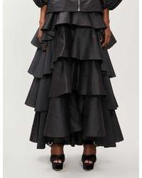 Giambattista Valli Black Tiered Flared Satin Maxi Skirt