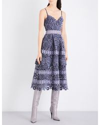 Self-Portrait - Gray Floral-embroidered Cutout Midi Dress - Lyst