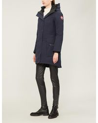 Canada Goose Blue Kinley Twill Padded Parka Coat