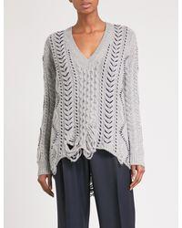 Gabriela Hearst Gray Dorian V-neck Wool And Cashmere-blend Jumper