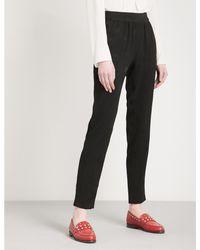 Claudie Pierlot Black Porto Bis Floral-jacquard Trousers