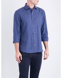 Corneliani | Blue Regular-fit Cotton-flannel Shirt for Men | Lyst
