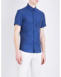 Brunello Cucinelli Blue Short-sleeved Linen And Cotton-blend Shirt for men