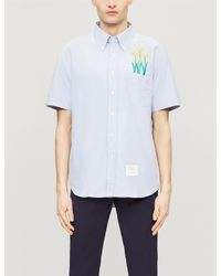 Thom Browne Blue Short Sleeve Chrysanthemum Embroidered Button Down Shirt for men