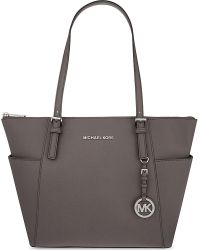 MICHAEL Michael Kors | Gray Jet Set Leather Trapeze Tote | Lyst