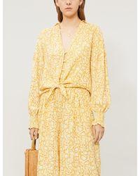Faithfull The Brand Yellow Aria Snake-print V-neck Rayon Top