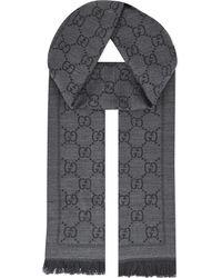 Gucci - Black Gg Logo Wool Scarf - Lyst
