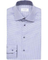 Eton of Sweden Blue Micro-print Contemporary-fit Cotton Shirt for men