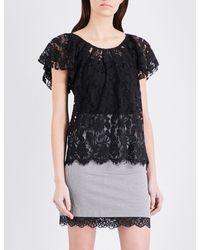Claudie Pierlot Black Tonight Floral Lace Top