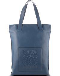 Loewe   Blue Leather Shopper Bag   Lyst
