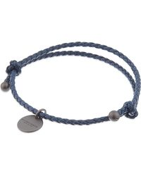 Bottega Veneta | Blue Intrecciato Leather Beaded Thin Wrap Bracelet | Lyst