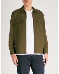 AMI Green Zip-up Regular-fit Woven Shirt for men