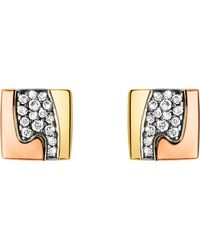 Georg Jensen | Metallic Fusion Pavé-set 18ct Gold Stud Earrings | Lyst