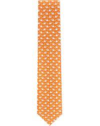 Ferragamo Orange Turtle Silk Tie for men