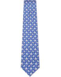 Ferragamo - Blue Elephant And Horse Silk Tie for Men - Lyst
