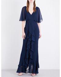 TOPSHOP Blue Angel Sleeve Ruffle Chiffon Maxi Dress