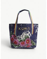 Kurt Geiger Blue Daisy Sequinned Canvas Shopper