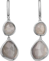 Monica Vinader Metallic Siren Double Drop Nugget Sterling Silver And Blue Lace Agate Earrings