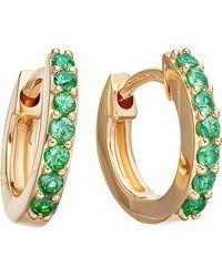 Astley Clarke | Metallic Mini Halo 14ct Yellow Gold And Emerald Hoop Earrings | Lyst