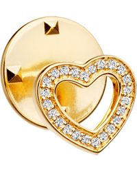 Astley Clarke | Metallic Heart Biography 18ct Yellow Gold-plated Vermeil And Sapphire Pin | Lyst