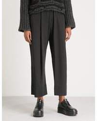 Isabel Benenato Black Pleated Wide-leg High-rise Wool Trousers