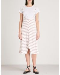 Maje Pink Stripe Poppered Strap Skirt