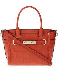 COACH - Red Swagger 21 Crocodile-embossed Leather Tote - Lyst