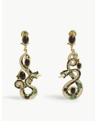 Percossi Papi - Green Snake Gemstone Embellished Drop Earrings - Lyst
