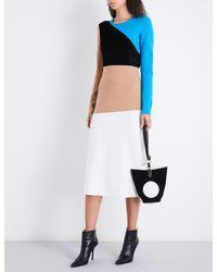 Diane von Furstenberg White Contrast-panel Fitted Wool-blend Dress