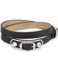 Balenciaga | Black Metallic Edge Leather Bracelet | Lyst