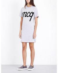 McQ Gray Mcq-appliqué Cotton-jersey T-shirt Dress