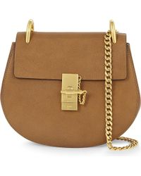 Chloé | Brown Drew Small Grained Leather Saddle Cross-body Bag | Lyst