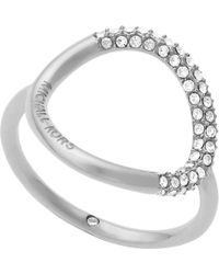 Michael Kors - Metallic Brilliance Silver-toned Pavé Ring - Lyst