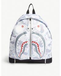 A Bathing Ape White Space Shark Print Backpack for men