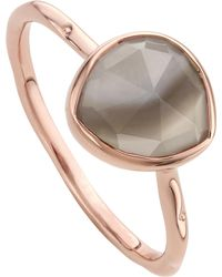 Monica Vinader - Metallic Siren 18ct Rose Gold Vermeil And Grey Agate Stacking Ring - Lyst
