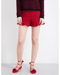 RED Valentino | Red Ruffled High-rise Twill Shorts | Lyst