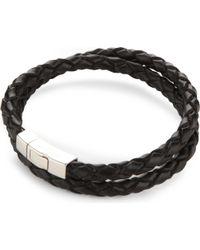 Tateossian Black Double-wrap Scoubidou Leather And Sterling Silver Bracelet for men