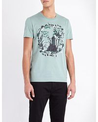 Burberry - Blue Wallpaper-print Cotton-jersey T-shirt for Men - Lyst