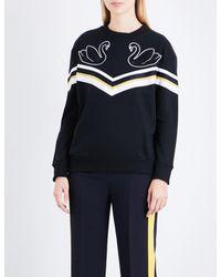 Victoria, Victoria Beckham - Black Swan-embroidered Cotton-jersey Sweatshirt - Lyst