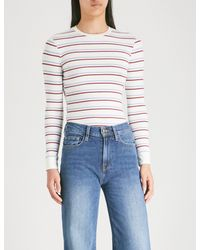 FRAME Blue Striped Knitted Top