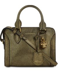 Alexander McQueen | Green Padlock Metallic Leather Cross-body Bag | Lyst