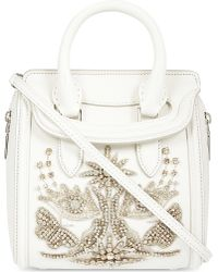 Alexander McQueen - White Mini Heroine Leather Jewelled Tote - Lyst