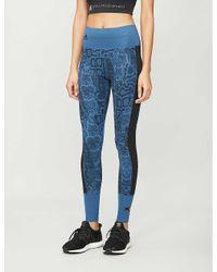 Adidas By Stella McCartney Blue Train Stretch-jersey leggings