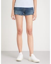 FRAME Blue Le Cut Shredded Mid-rise Denim Shorts
