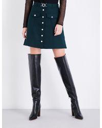 Maje Green Jilli Belted A-line Twill Skirt